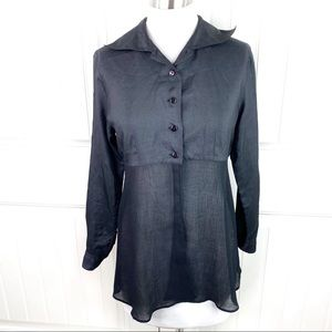 Sisley Relaxed Elegance Italy Button Sheer Shirt 8